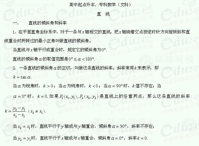 【江苏成考】千赢网页手机版文科数学讲义23--直线的倾斜角和斜率